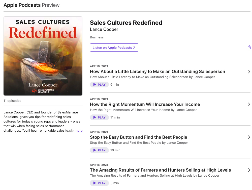 Sales Manage Solutions Podcast Episodes —Sales Cultures Redefined